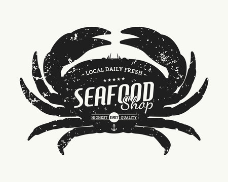 Retro styled crab silhouette seafood shop label template