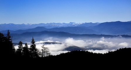 Aluminium Prints Himalayan mountain range over cloud in Shangri-La, China
