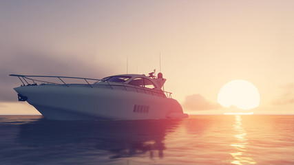 yacht and sunset