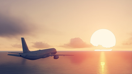 plane and sun set Wall mural