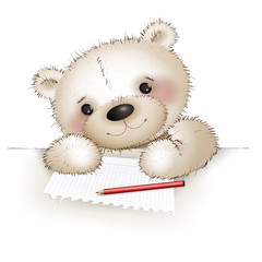 Teddy writes a letter to a postcard