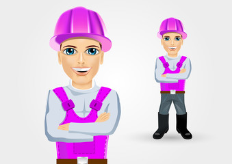 builder with crossed arms