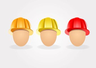 set of construction helmets