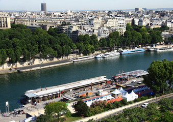 France. Paris.View on the quay of the river Seine and the modern buildings.