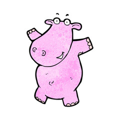 cartoon pink hippo