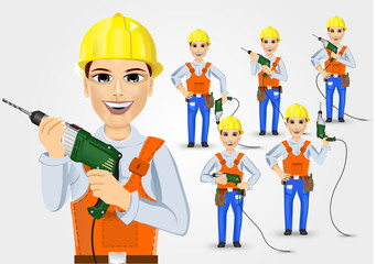 set of technical, electrician or mechanic