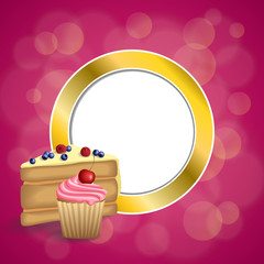 Background abstract pink yellow dessert cake blueberry raspberries cherry cupcake muffins cream gold circle frame illustration vector