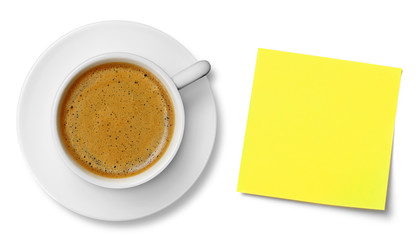 Coffee cup and adhesive note