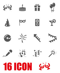 Vector grey party icon set
