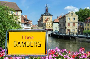 Ortsschild I Love Bamberg