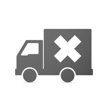 Isolated delivery truck icon with an x sign