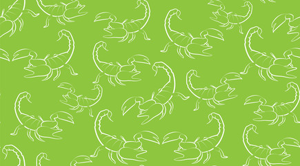 Vector seamless background of contours Scorpions on a green background. Pattern of randomly distributed Scorpions.