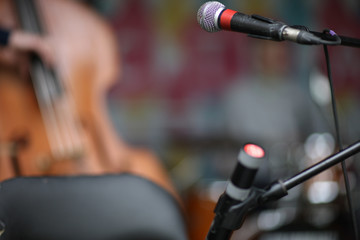 Details of sound system, microphone in focus