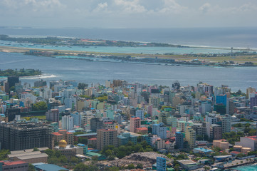 Maldives, Male city. Top view picture taken from seaplane.