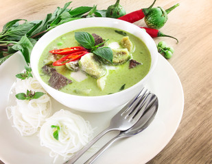 Green curry creamy coconut milk with chicken , Popular Thai food