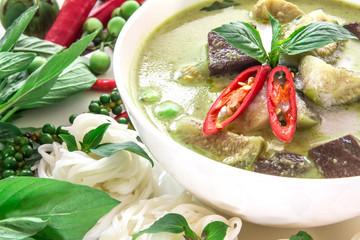 Green curry creamy coconut milk with chicken , Popular Thai food