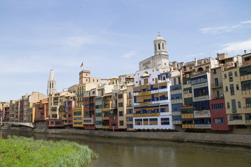 Old section of the city with the catherdal in the background.Girona,Spain
