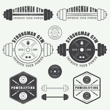Set of gym logo, labels,badges and elements in vintage style