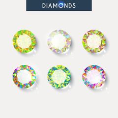 Set realistic diamond with reflex, glare and shadow