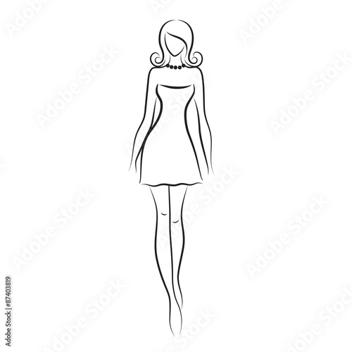 """Fashion model sketch. Silhouette of beautiful woman ..."