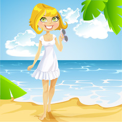 Girl in a white dress with sunglasses on beach