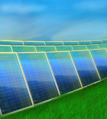 photovoltaic panels on grass