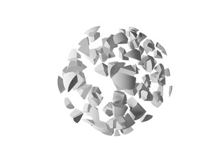 Explosioon 3d object, cloud of spherical fragments