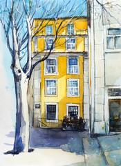 Quiet Lisbon street. Watercolor sketch.