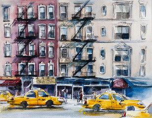 Busy New York street. Watercolor sketch