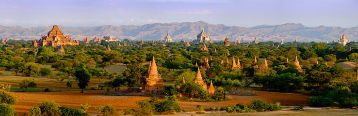Panoramic landscape view of old temples in Bagan, Myanmar