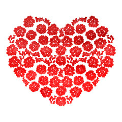 Heart with flowers isolated