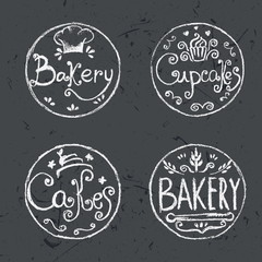 Collection of vintage retro hand draw bakery labels .Vector