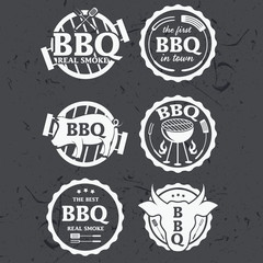 Illustration set of bbq labels on chalkboard . Vector