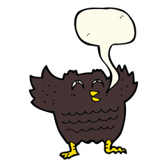 cartoon black bird with speech bubble