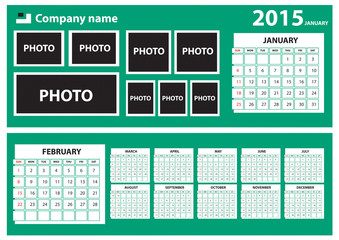 2015 Calendar with green background. It is better for web page. just replace the Image gallery and month chart. Windows 8 looking  calender. Vector fully editable.