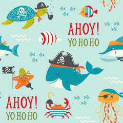 Seamless pattern with cute underwater pirates.