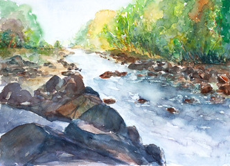 Beautiful river in forest landscape watercolor on paper