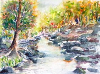 river and forest landscape watercolor on paper
