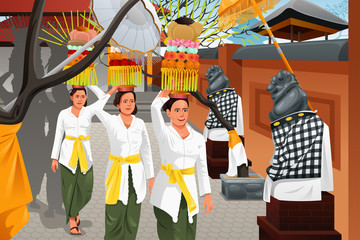 Balinese people in a traditional celebration
