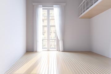 Большая пустая светлая комната с огромным окном