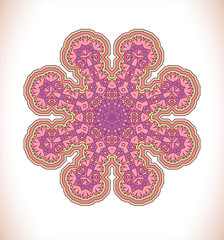 Pink mandala. Round ornament pattern. Hand drawn vector background