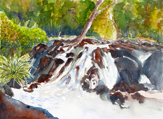 waterfall watercolor on paper