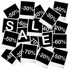 Sale concept with photo frames