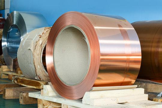 Rolls of copper foil in storage room