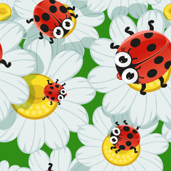Seamless background with daisies and baby ladybirds