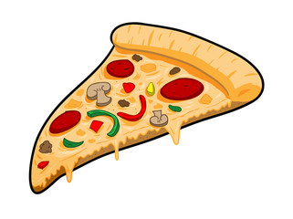 A Slice of Pizza, a hand drawn vector illustration of a slice of pizza, isolated on a white background for easy editing.