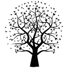Black tree with butterflies