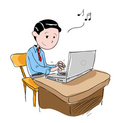 Man Enjoying His Work, a hand drawn vector illustration of a man enjoying his job, isolated on a white background (editable).