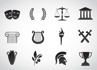 Greek, ancient icon set. Vector art.