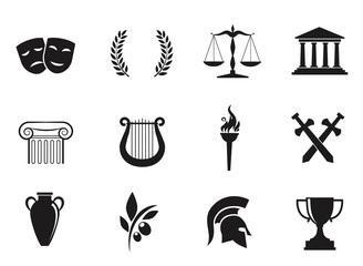 Ancient, greek, vector icon set.